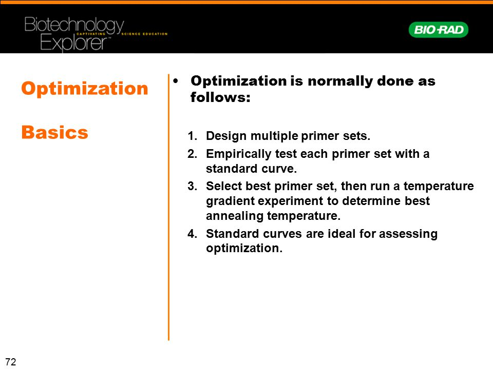 Optimization Basics Optimization is normally done as follows: