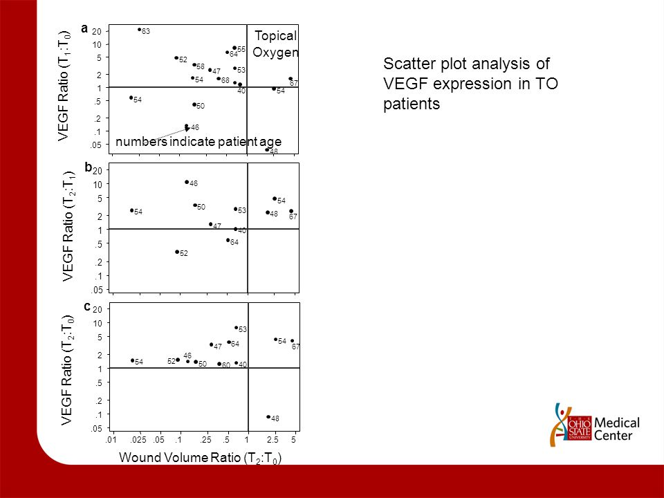 Scatter plot analysis of VEGF expression in TO patients