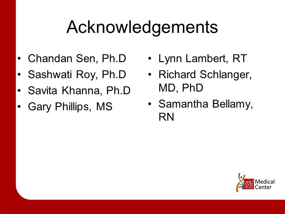 Acknowledgements Chandan Sen, Ph.D Sashwati Roy, Ph.D
