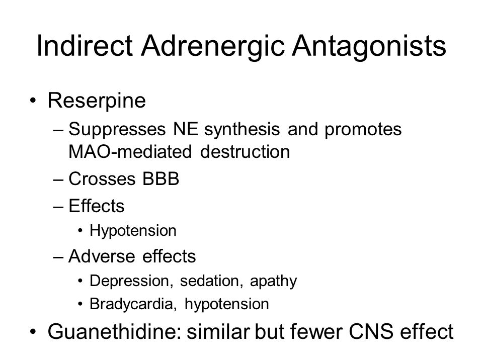 Indirect Adrenergic Antagonists