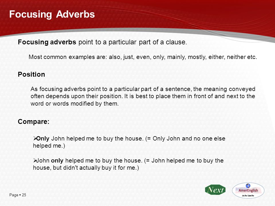 Focusing Adverbs Focusing adverbs point to a particular part of a clause.