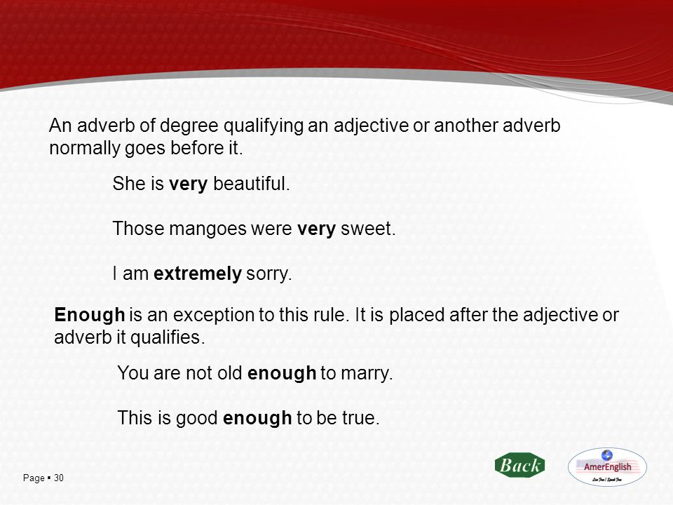 An adverb of degree qualifying an adjective or another adverb normally goes before it.