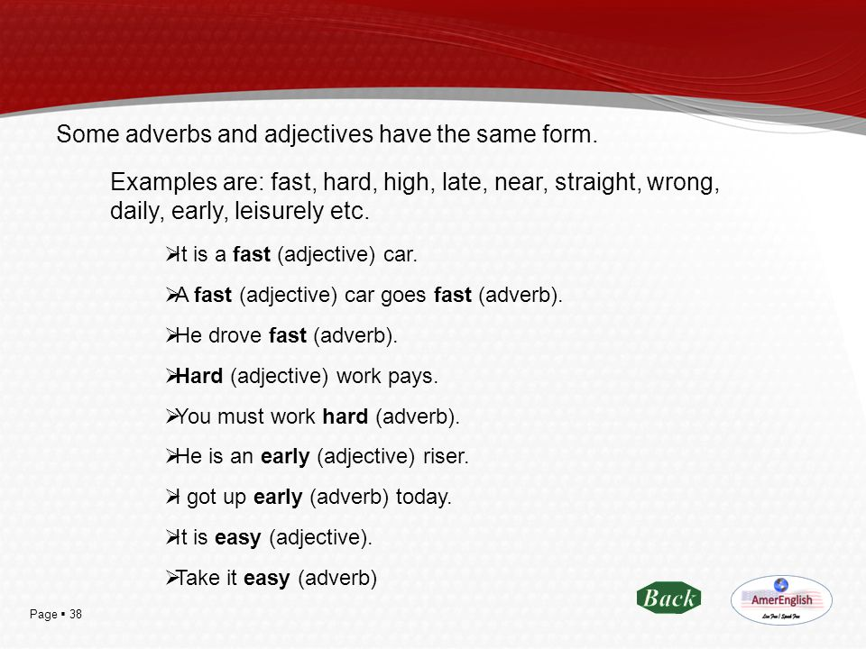 Some adverbs and adjectives have the same form.