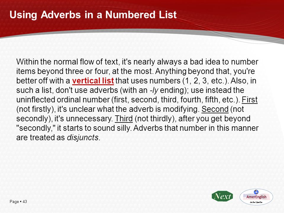 Using Adverbs in a Numbered List