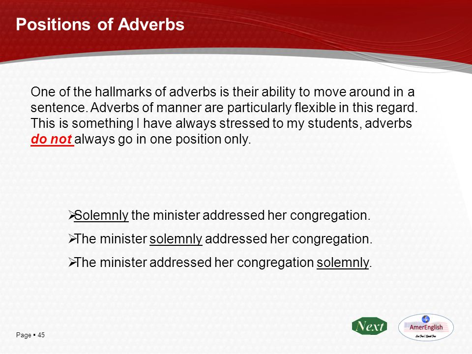 Positions of Adverbs
