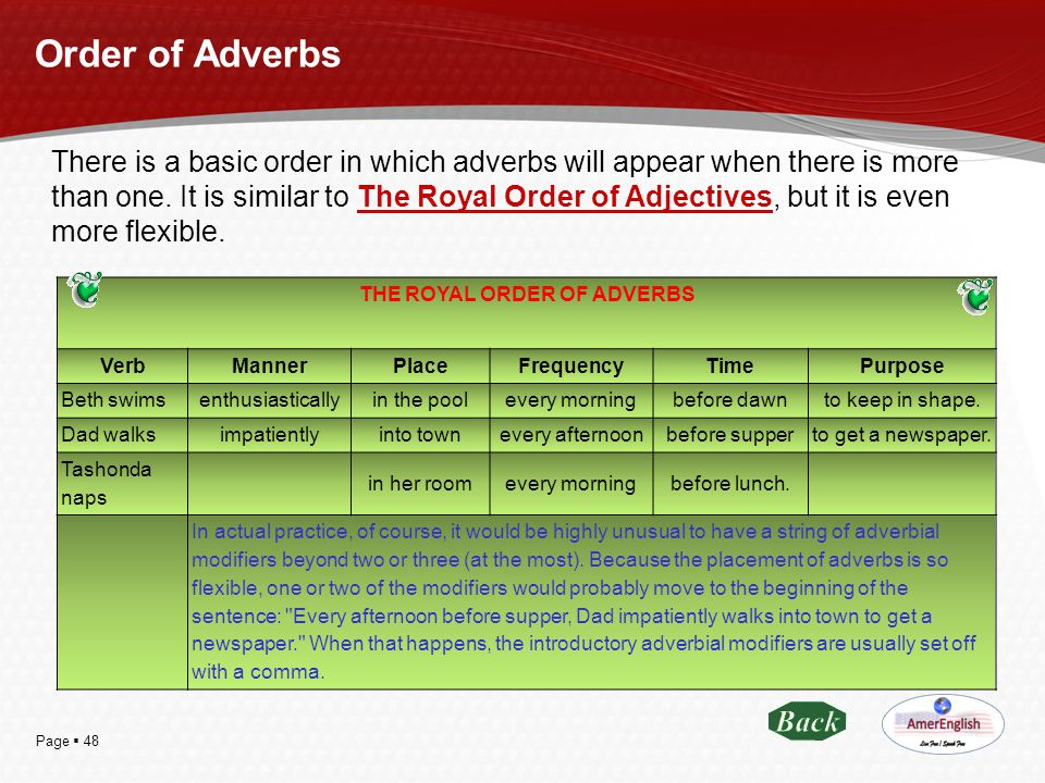 THE ROYAL ORDER OF ADVERBS