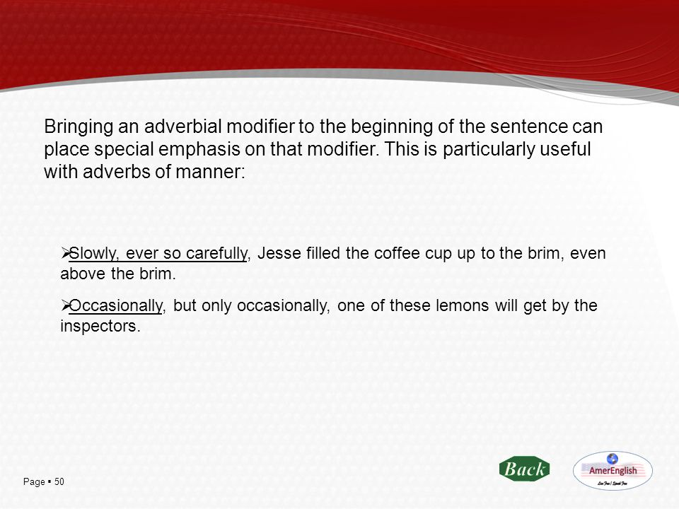 Bringing an adverbial modifier to the beginning of the sentence can place special emphasis on that modifier. This is particularly useful with adverbs of manner: