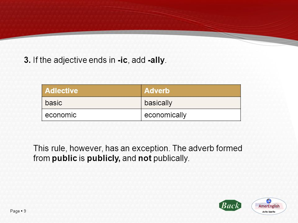 3. If the adjective ends in -ic, add -ally.