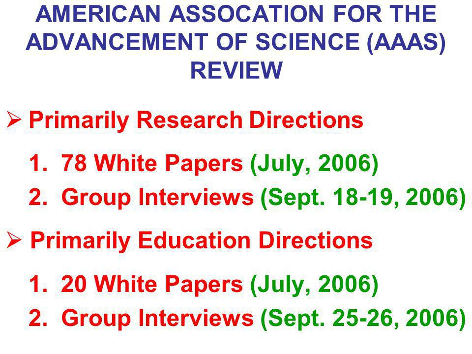AMERICAN ASSOCATION FOR THE ADVANCEMENT OF SCIENCE (AAAS) REVIEW