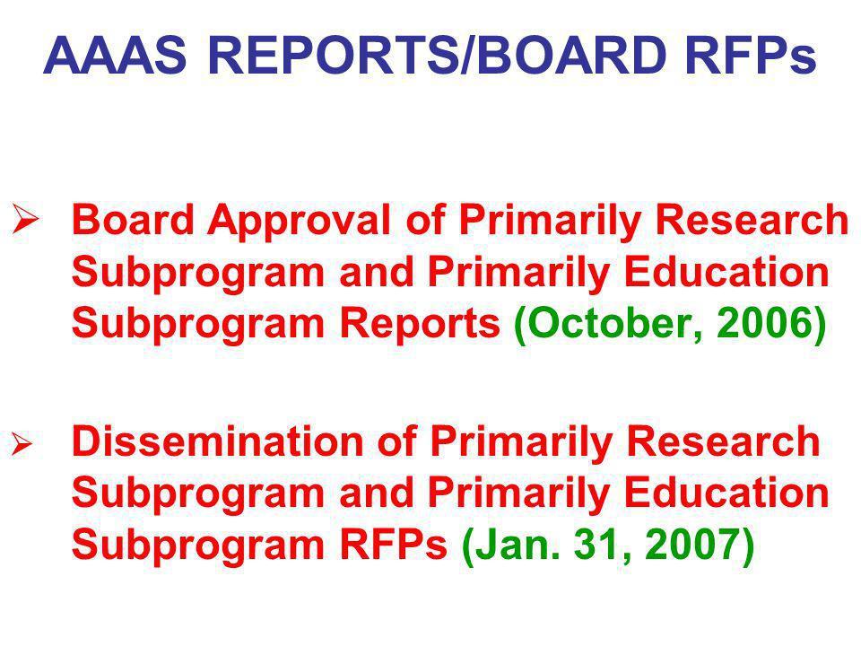 AAAS REPORTS/BOARD RFPs
