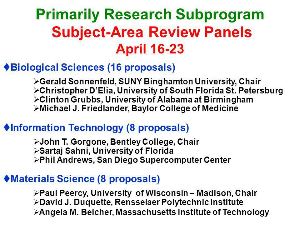 Primarily Research Subprogram Subject-Area Review Panels