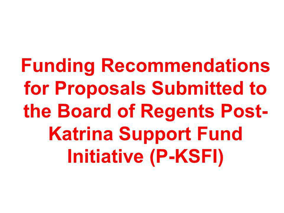 Funding Recommendations for Proposals Submitted to the Board of Regents Post-Katrina Support Fund Initiative (P-KSFI)
