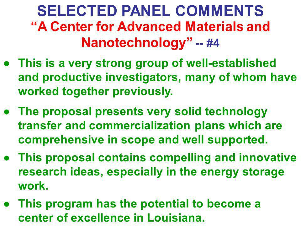 SELECTED PANEL COMMENTS