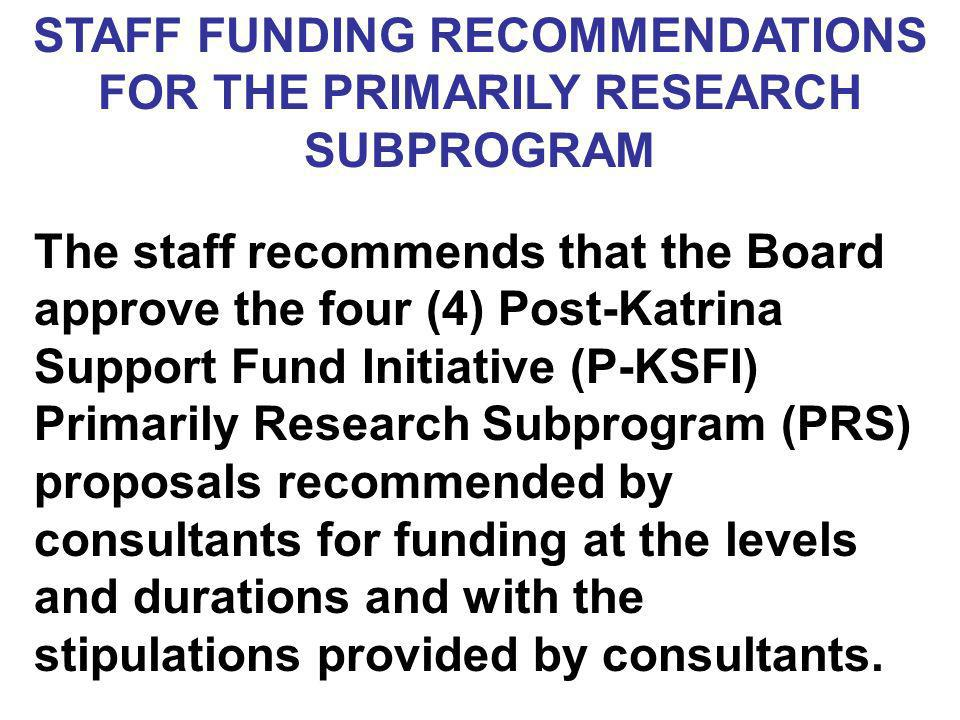 STAFF FUNDING RECOMMENDATIONS FOR THE PRIMARILY RESEARCH SUBPROGRAM