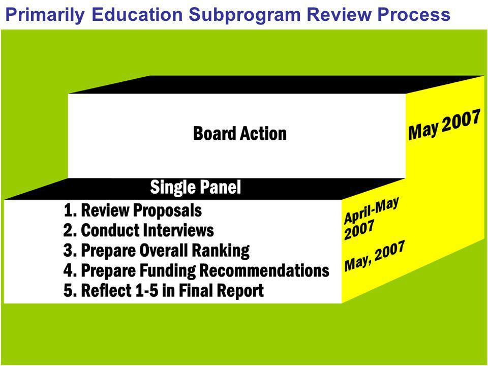 Primarily Education Subprogram Review Process