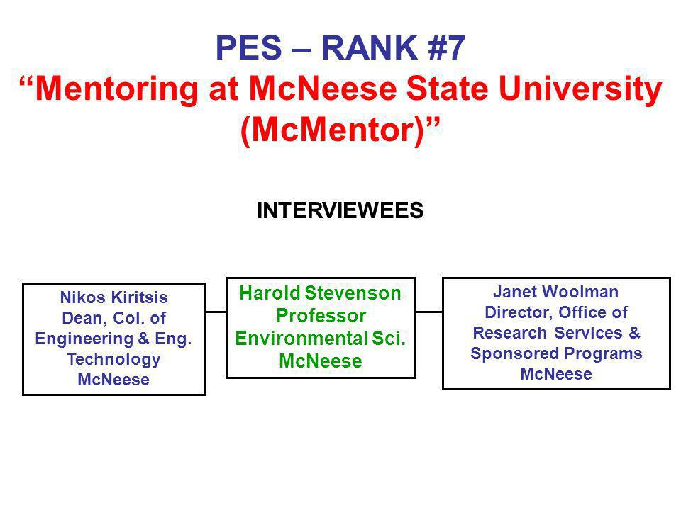 PES – RANK #7 Mentoring at McNeese State University (McMentor)
