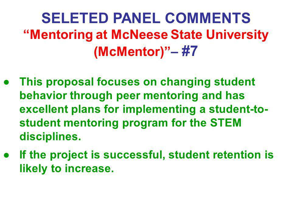 SELETED PANEL COMMENTS