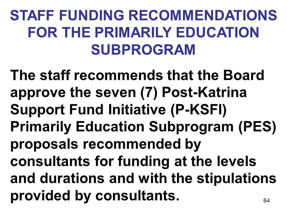 STAFF FUNDING RECOMMENDATIONS FOR THE PRIMARILY EDUCATION SUBPROGRAM