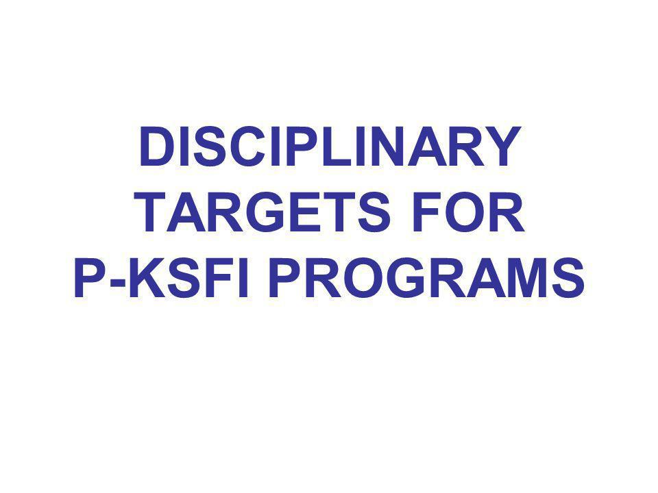 DISCIPLINARY TARGETS FOR P-KSFI PROGRAMS