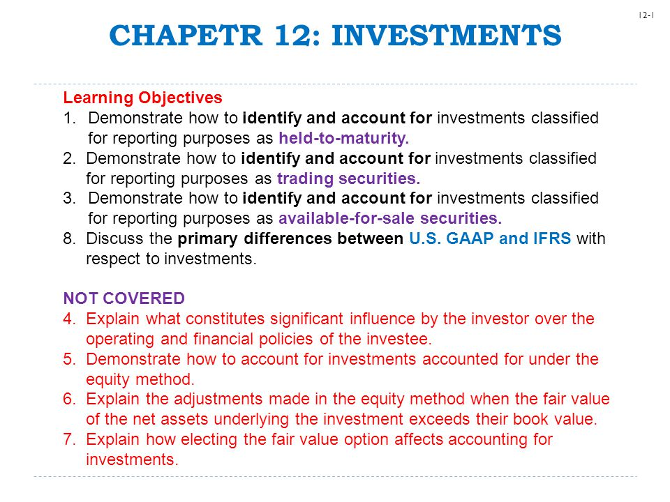 CHAPETR 12: INVESTMENTS Learning Objectives