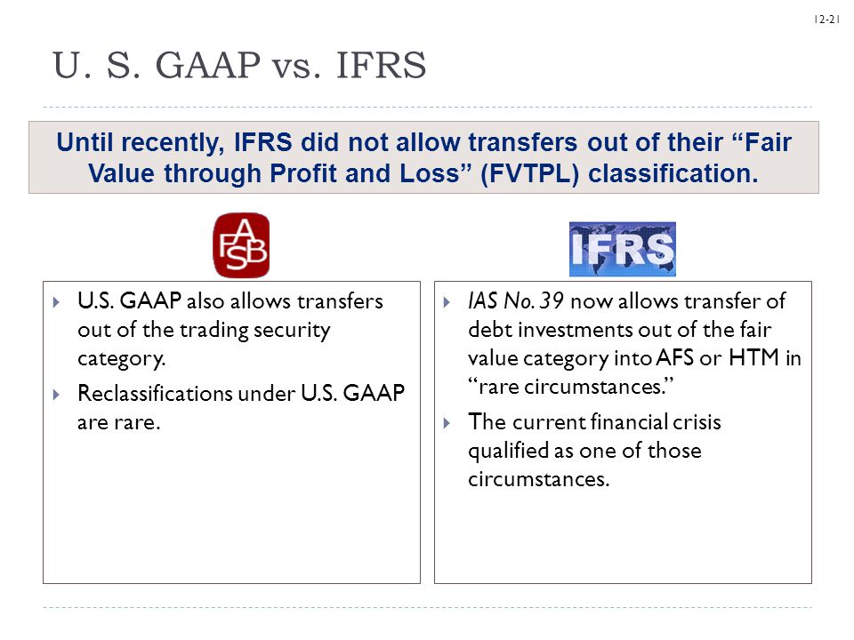 U. S. GAAP vs. IFRS Until recently, IFRS did not allow transfers out of their Fair Value through Profit and Loss (FVTPL) classification.