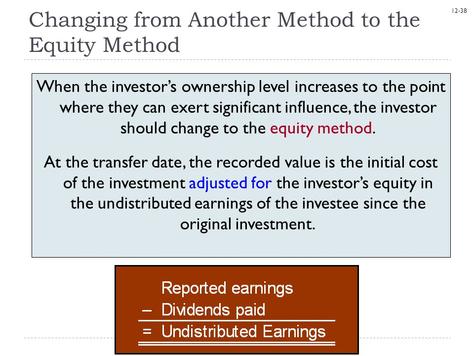 Changing from Another Method to the Equity Method