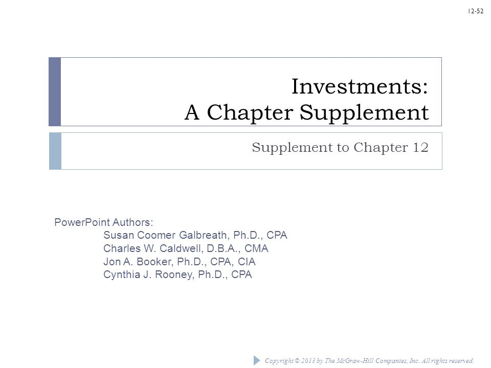 Investments: A Chapter Supplement