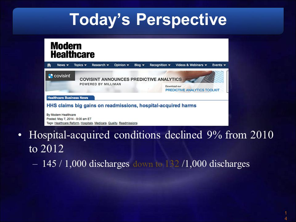 Today's Perspective Hospital-acquired conditions declined 9% from 2010 to 2012.