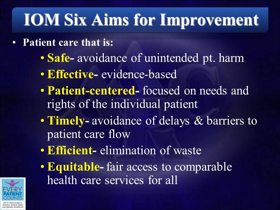 IOM Six Aims for Improvement