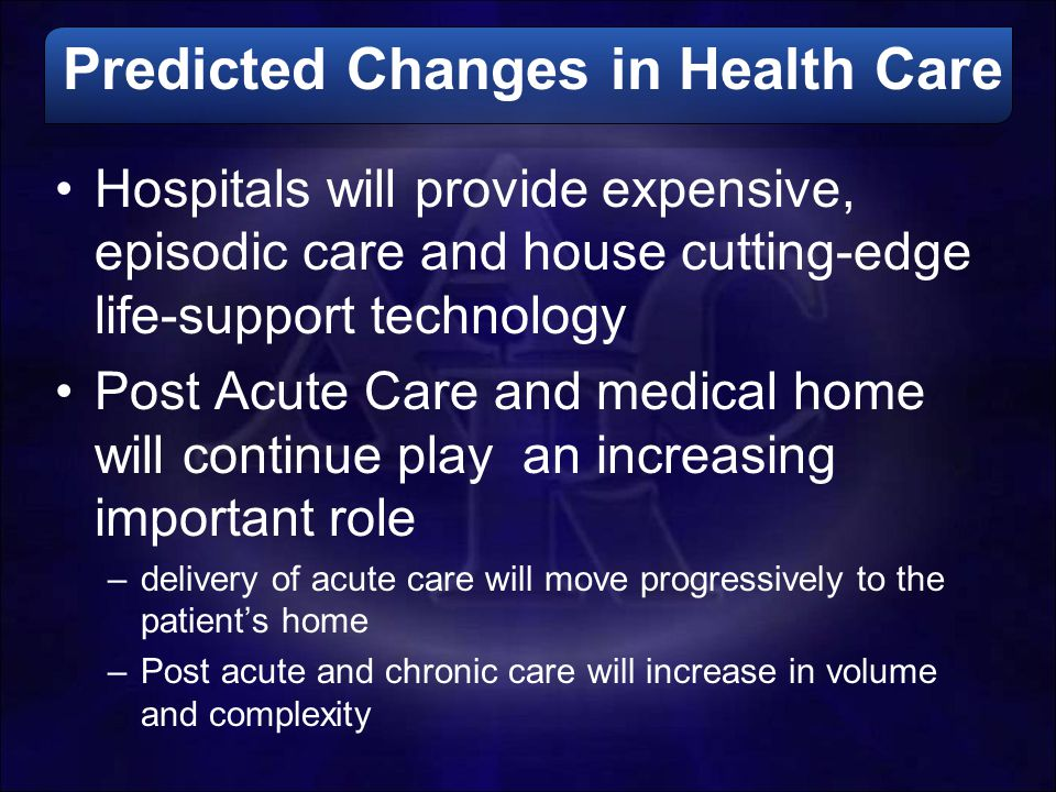 Predicted Changes in Health Care