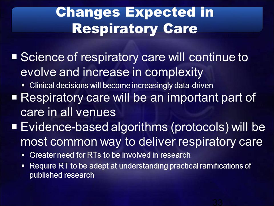 Changes Expected in Respiratory Care