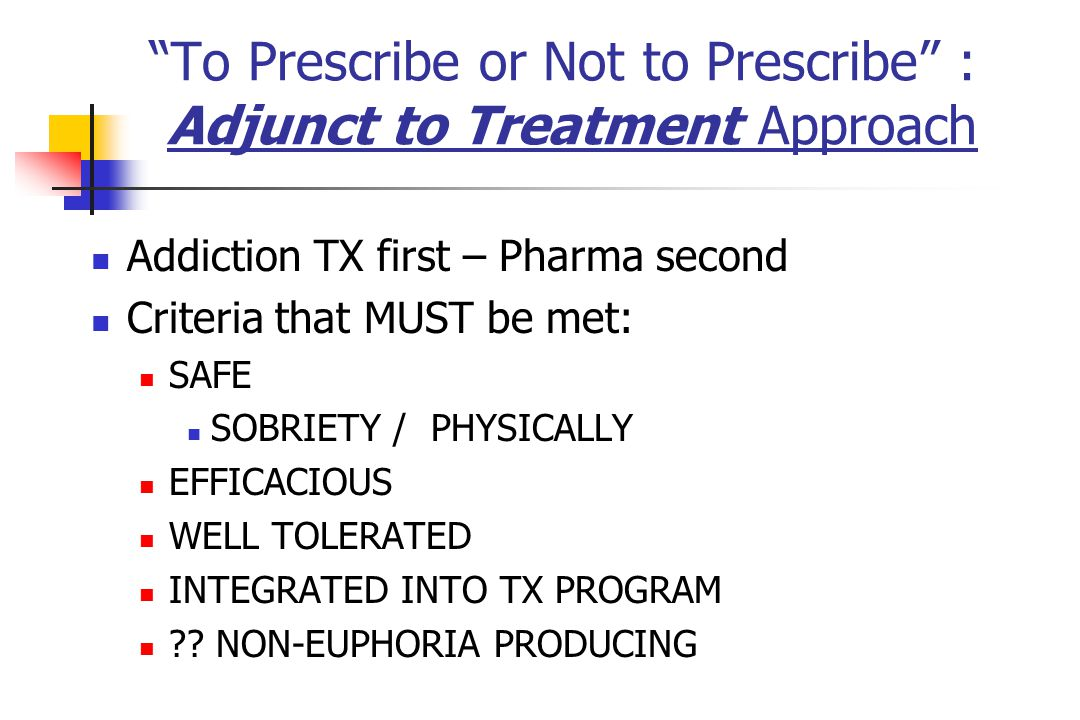 To Prescribe or Not to Prescribe : Adjunct to Treatment Approach
