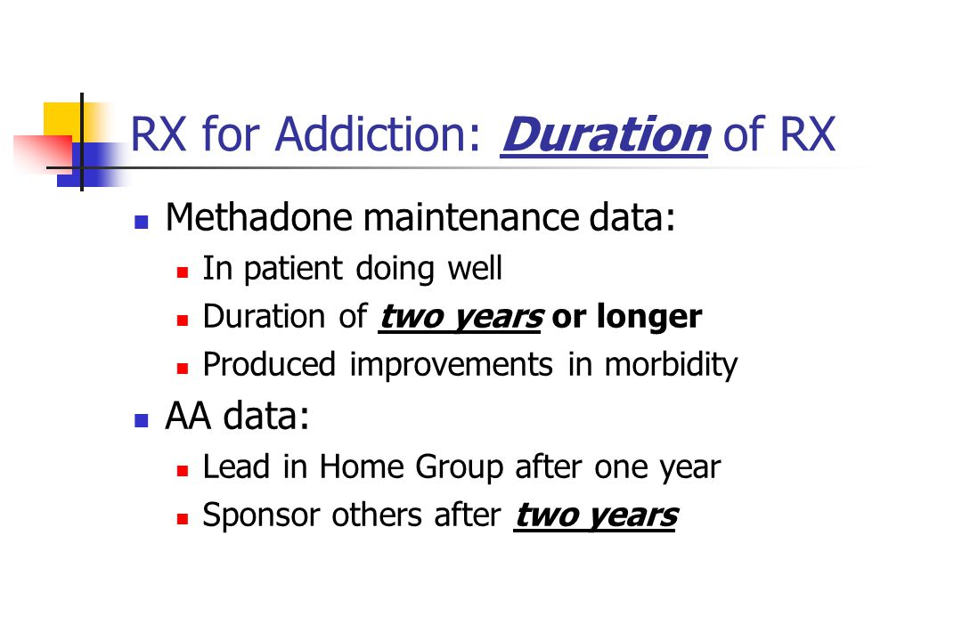 RX for Addiction: Duration of RX