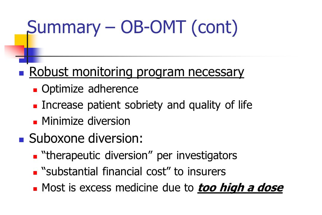 Summary – OB-OMT (cont)