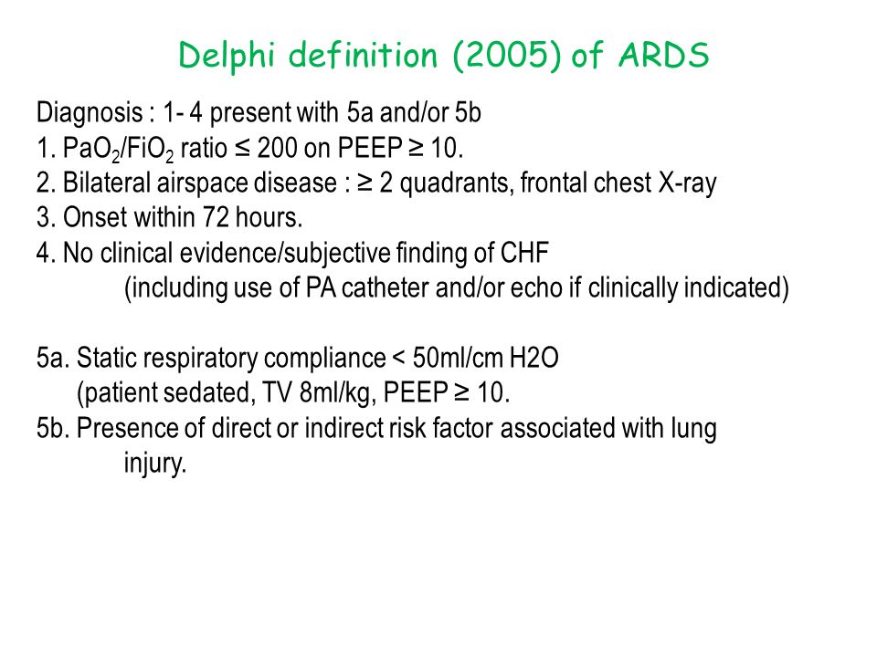 Delphi definition (2005) of ARDS