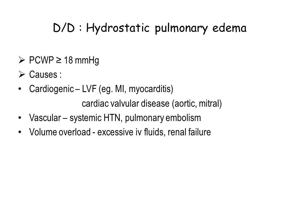 D/D : Hydrostatic pulmonary edema