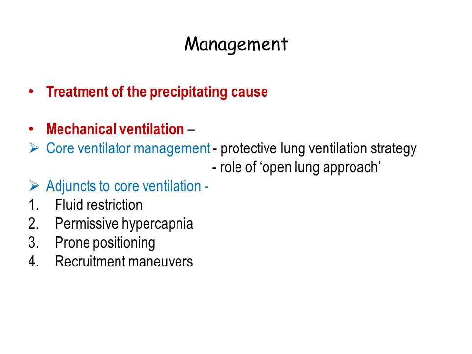 Management Treatment of the precipitating cause