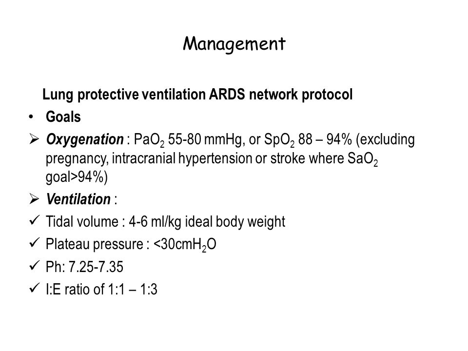 Management Lung protective ventilation ARDS network protocol Goals