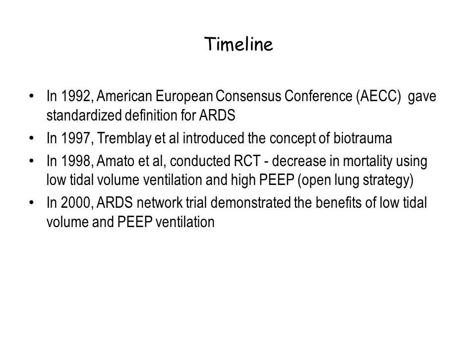 Timeline In 1992, American European Consensus Conference (AECC) gave standardized definition for ARDS.