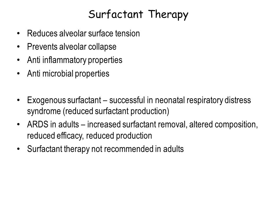 Surfactant Therapy Reduces alveolar surface tension