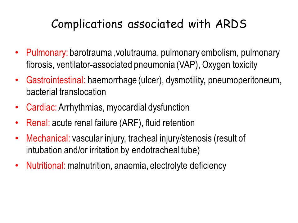 Complications associated with ARDS