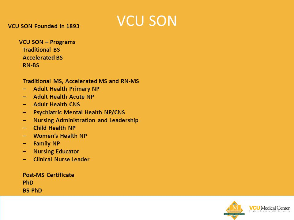 VCU SON VCU SON Founded in 1893 VCU SON – Programs Traditional BS