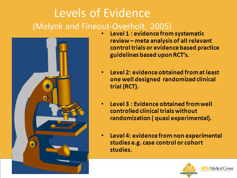 Levels of Evidence (Melynk and Fineout-Overholt, 2005)