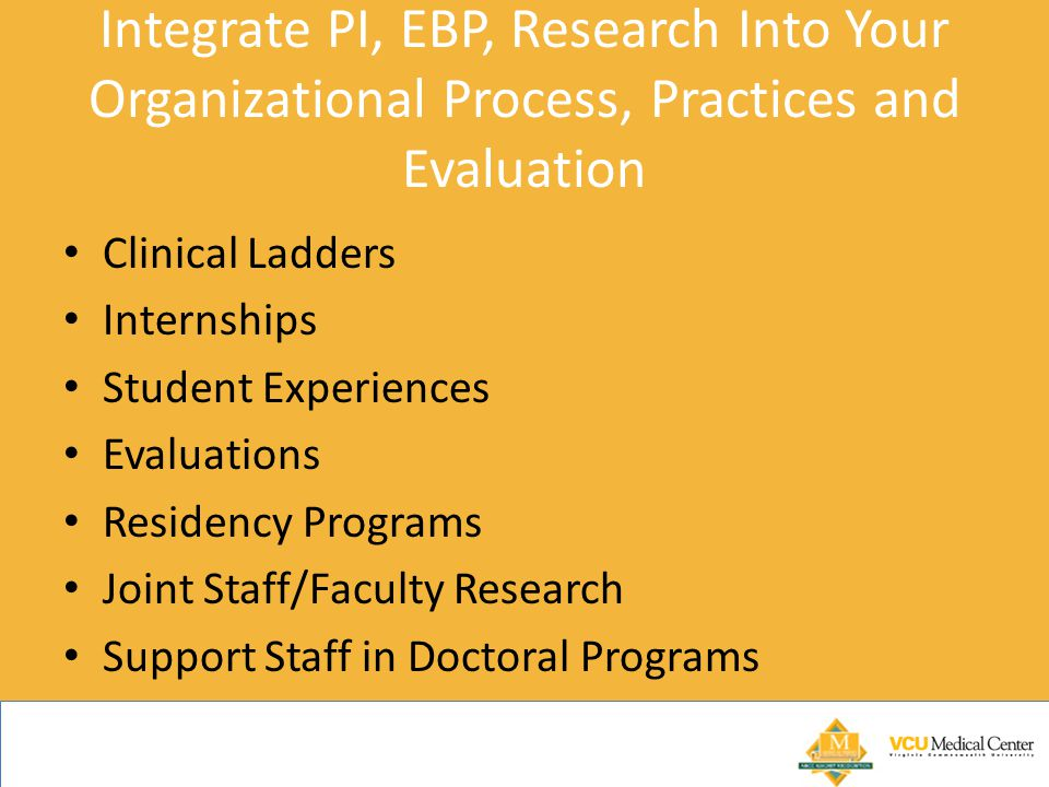 Integrate PI, EBP, Research Into Your Organizational Process, Practices and Evaluation
