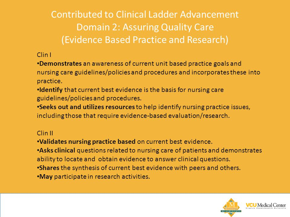 Contributed to Clinical Ladder Advancement Domain 2: Assuring Quality Care (Evidence Based Practice and Research)