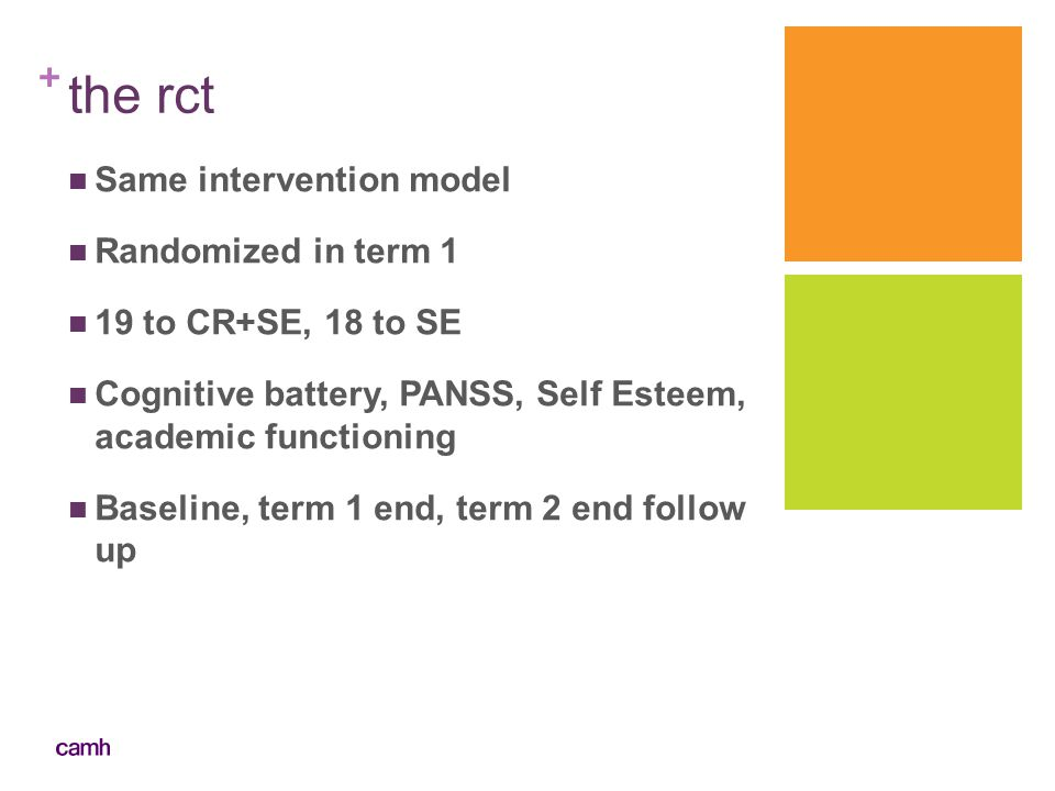 the rct Same intervention model Randomized in term 1