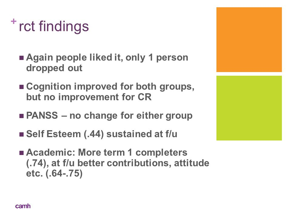 rct findings Again people liked it, only 1 person dropped out