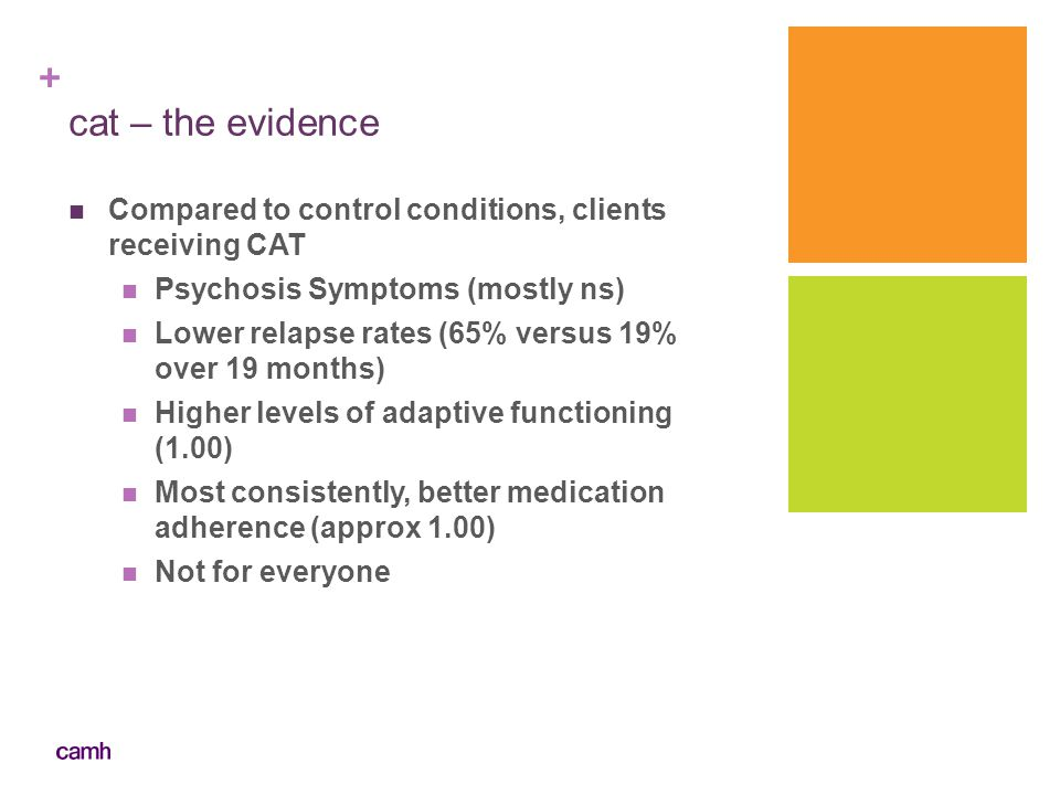 cat – the evidence Compared to control conditions, clients receiving CAT. Psychosis Symptoms (mostly ns)