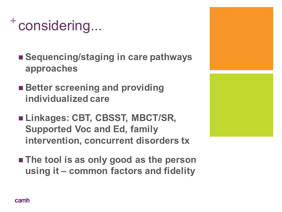 considering... Sequencing/staging in care pathways approaches