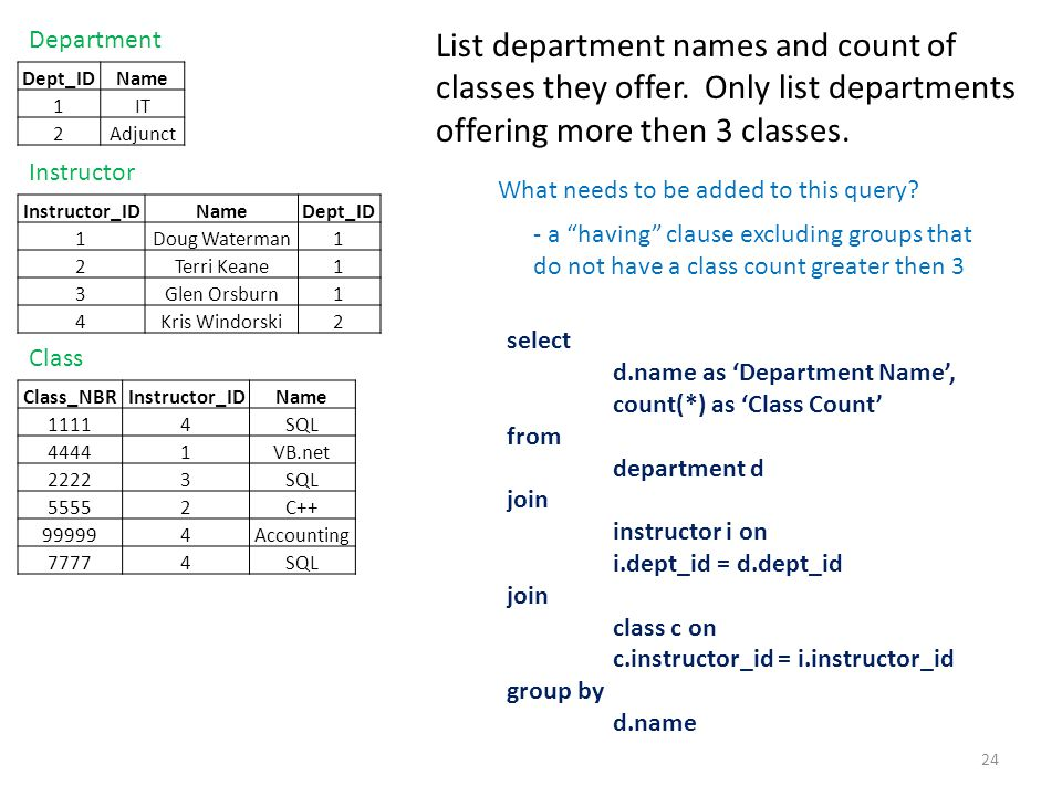 Department List department names and count of classes they offer. Only list departments offering more then 3 classes.